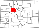 Map of Colorado showing Eagle County - Click on map for a greater detail.