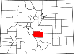 Map of Colorado showing Fremont County - Click on map for a greater detail.