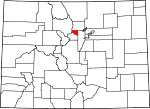 Map of Colorado showing Gilpin County - Click on map for a greater detail.