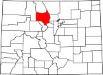 Map of Colorado showing Grand County - Click on map for a greater detail.