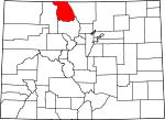 Map of Colorado showing Jackson County - Click on map for a greater detail.