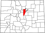 Map of Colorado showing Jefferson County - Click on map for a greater detail.