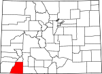 Map of Colorado showing La Plata County - Click on map for a greater detail.