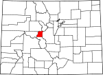 Map of Colorado showing Lake County - Click on map for a greater detail.