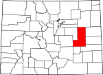 Map of Colorado showing Lincoln County - Click on map for a greater detail.