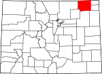 Map of Colorado showing Logan County - Click on map for a greater detail.