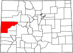 Map of Colorado showing Mesa County - Click on map for a greater detail.