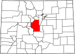 Map of Colorado showing Park County - Click on map for a greater detail.