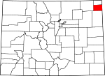 Map of Colorado showing Phillips County - Click on map for a greater detail.