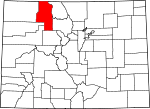 Map of Colorado showing Routt County - Click on map for a greater detail.