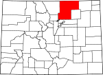 Map of Colorado showing Weld County - Click on map for a greater detail.