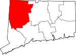 Map of Connecticut showing Litchfield County - Click on map for a greater detail.