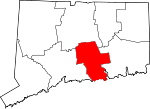 Map of Connecticut showing Middlesex County - Click on map for a greater detail.