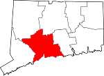 Map of Connecticut showing New Haven County - Click on map for a greater detail.
