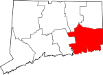 Map of Connecticut showing New London County - Click on map for a greater detail.