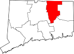 Map of Connecticut showing Tolland County - Click on map for a greater detail.