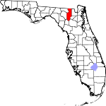 Map of Florida showing Columbia County - Click on map for a greater detail.