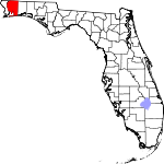 Map of Florida showing Santa Rosa County - Click on map for a greater detail.
