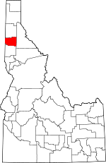Map of Idaho showing Benewah County - Click on map for a greater detail.