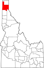 Map of Idaho showing Bonner County - Click on map for a greater detail.