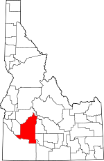 Map of Idaho showing Elmore County - Click on map for a greater detail.