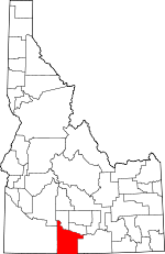 Map of Idaho showing Twin Falls County - Click on map for a greater detail.