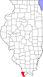 Map of Illinois showing Alexander County - Click on map for a greater detail.