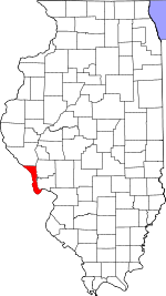 Map of Illinois showing Calhoun County - Click on map for a greater detail.