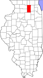 Map of Illinois showing DeKalb County - Click on map for a greater detail.