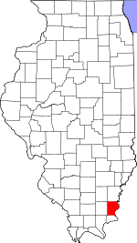 Map of Illinois showing Gallatin County - Click on map for a greater detail.