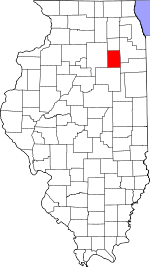 Map of Illinois showing Grundy County - Click on map for a greater detail.
