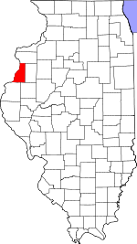 Map of Illinois showing Henderson County - Click on map for a greater detail.