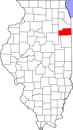 Map of Illinois showing Kankakee County - Click on map for a greater detail.