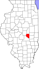 Map of Illinois showing Moultrie County - Click on map for a greater detail.