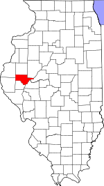 Map of Illinois showing Schuyler County - Click on map for a greater detail.