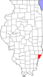 Map of Illinois showing Wabash County - Click on map for a greater detail.