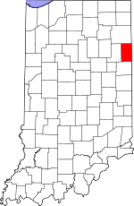 Map of Indiana showing Adams County - Click on map for a greater detail.