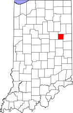 Map of Indiana showing Blackford County - Click on map for a greater detail.