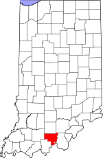 Map of Indiana showing Crawford County - Click on map for a greater detail.