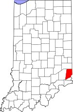 Map of Indiana showing Dearborn County - Click on map for a greater detail.