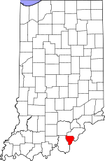 Map of Indiana showing Floyd County - Click on map for a greater detail.