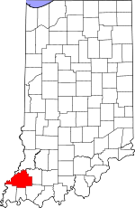 Map of Indiana showing Gibson County - Click on map for a greater detail.
