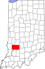Map of Indiana showing Greene County - Click on map for a greater detail.
