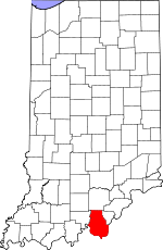 Map of Indiana showing Harrison County - Click on map for a greater detail.