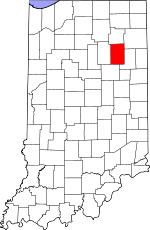 Map of Indiana showing Huntington County - Click on map for a greater detail.