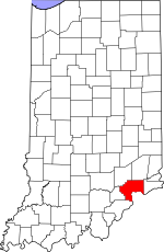 Map of Indiana showing Jefferson County - Click on map for a greater detail.