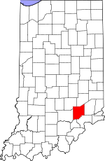 Map of Indiana showing Jennings County - Click on map for a greater detail.