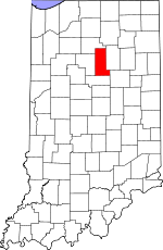 Map of Indiana showing Miami County - Click on map for a greater detail.