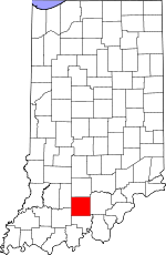Map of Indiana showing Orange County - Click on map for a greater detail.