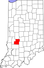 Map of Indiana showing Owen County - Click on map for a greater detail.